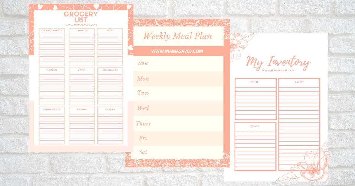three printable grocery sheet pages for the how to feed a family of 3 serieson grey brick background