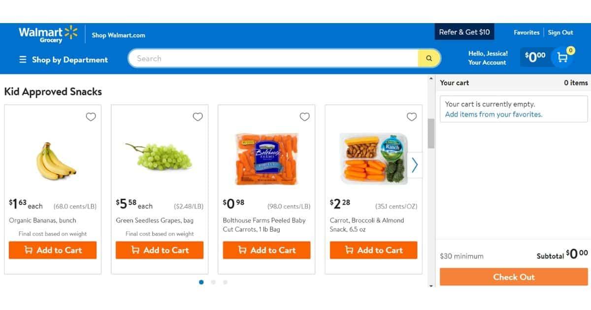 screen grab of walmart grocey pickup website