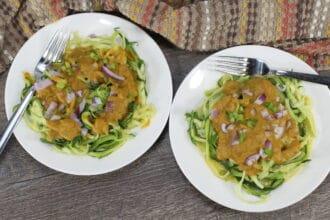 Easy KitchenAid Zoodles for Gluten Free Pumpkin Alfredo