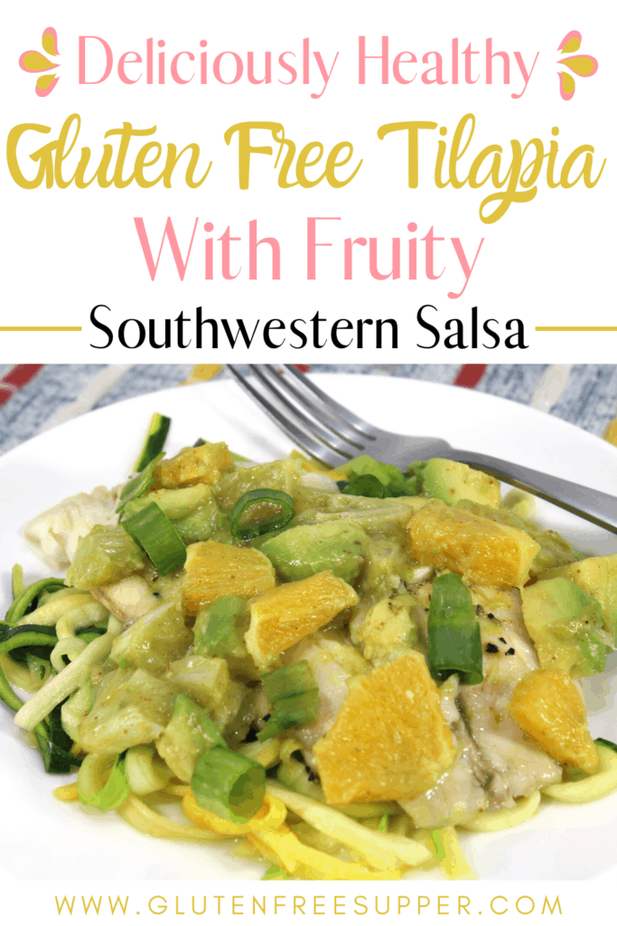Craving something healthy for dinner? This Gluten Free Tilapia with Fruity Southwestern Salsa recipe will soon become a favorite!