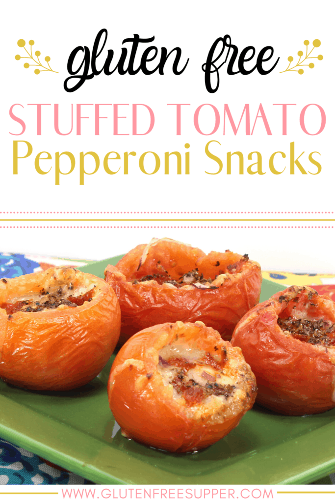 These delicious Stuffed Tomato Pepperoni Snacks are gluten-free, healthy, and very kid-friendly! They make the perfect after school snack!