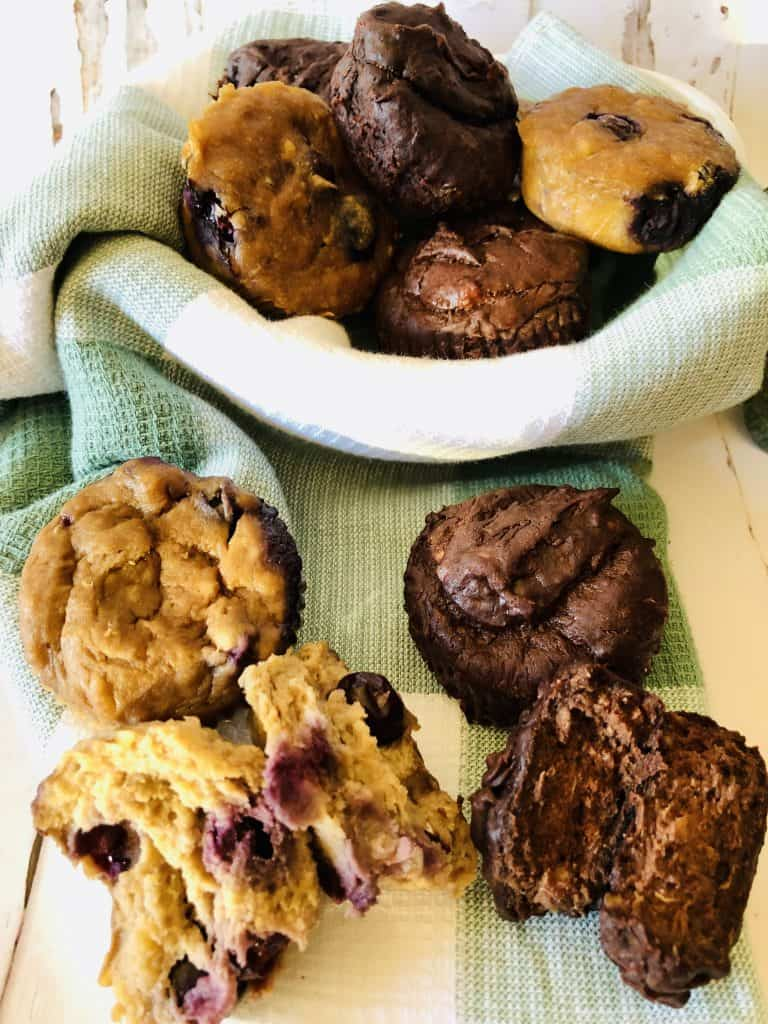 In the mood for a sweet treat? You'll love this easy and delicious Flourless Chocolate & Blueberry Banana Muffins recipe!