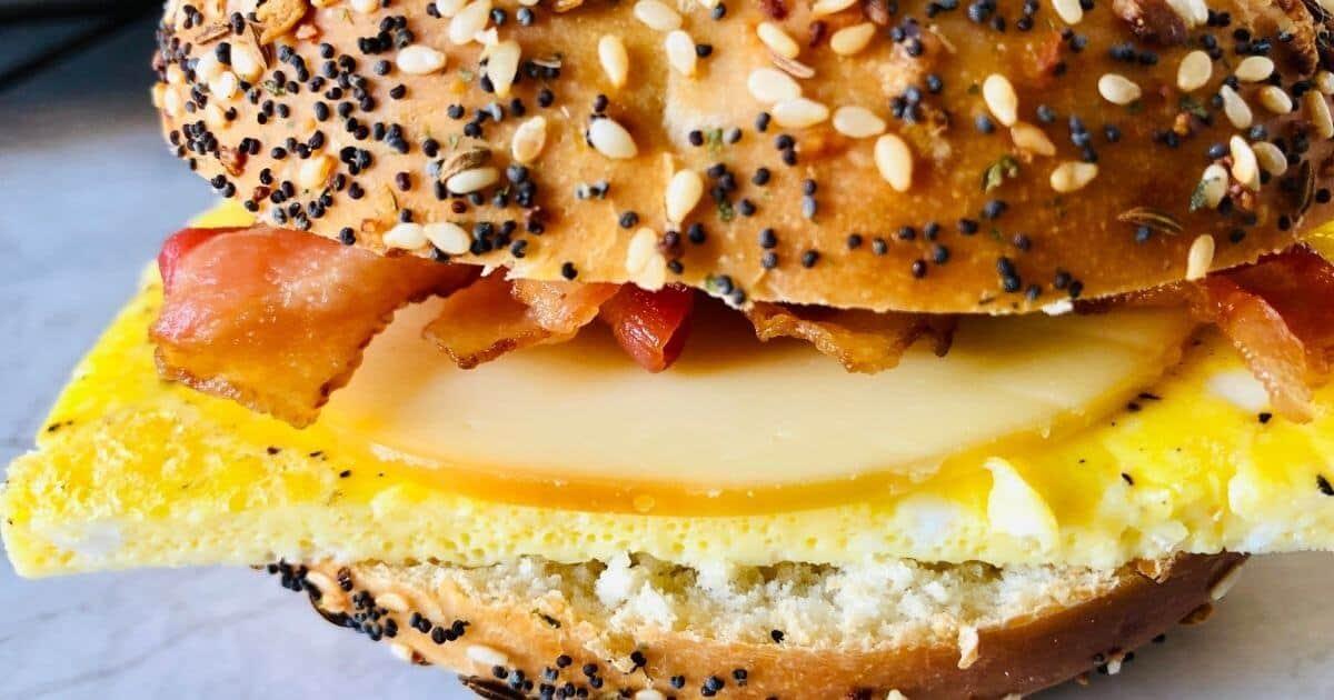 close up image of gluten free bagel sandwich