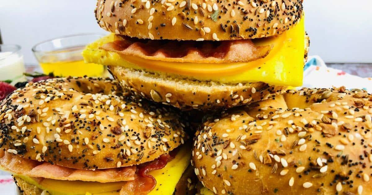 three gluten free bagel sandwiches