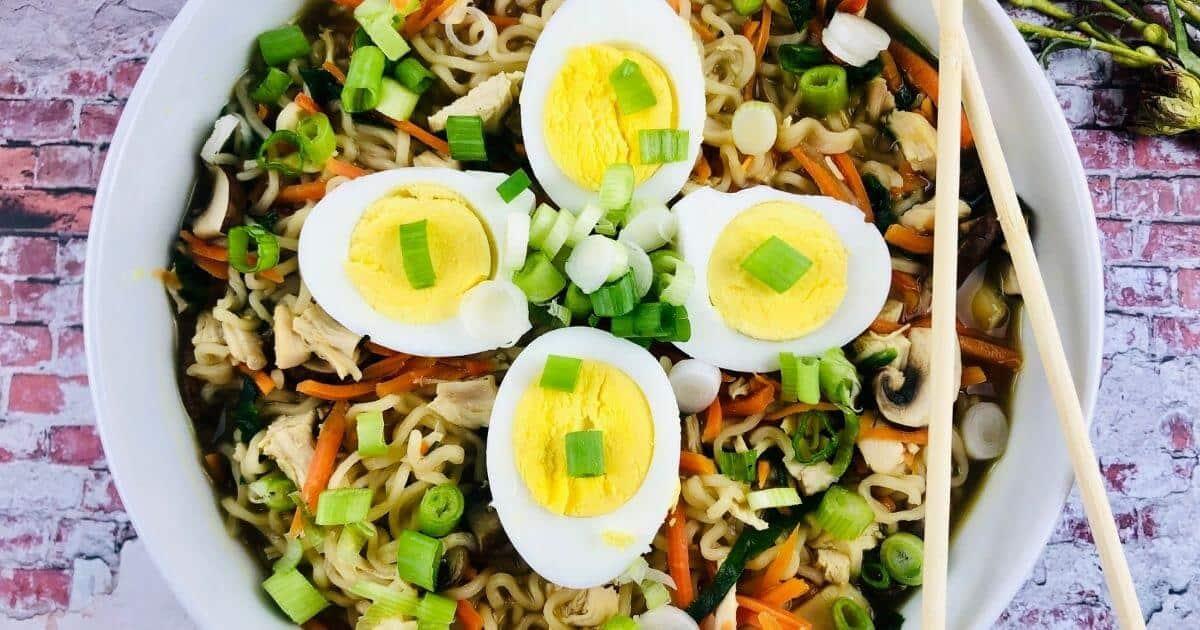 gluten free ramen noodle soup in bowl