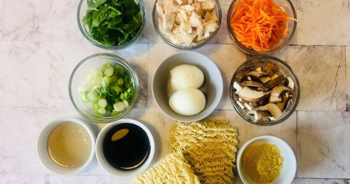 ingredients to make a gluten free ramen noodle bowl