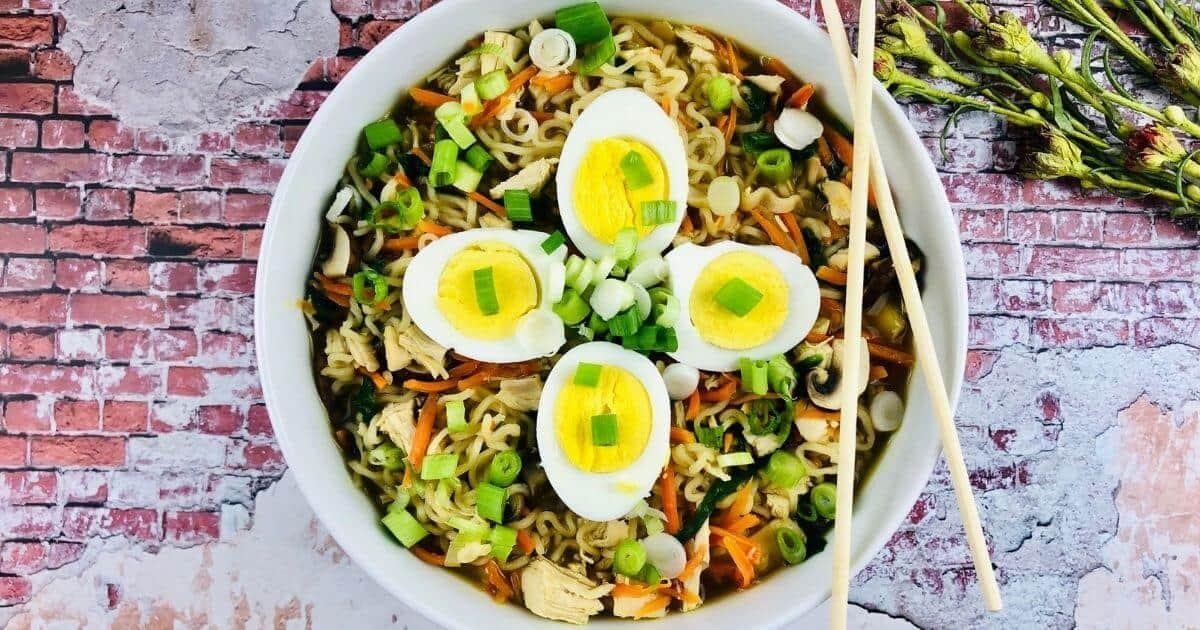 gluten free ramen noodle soup in a bowl