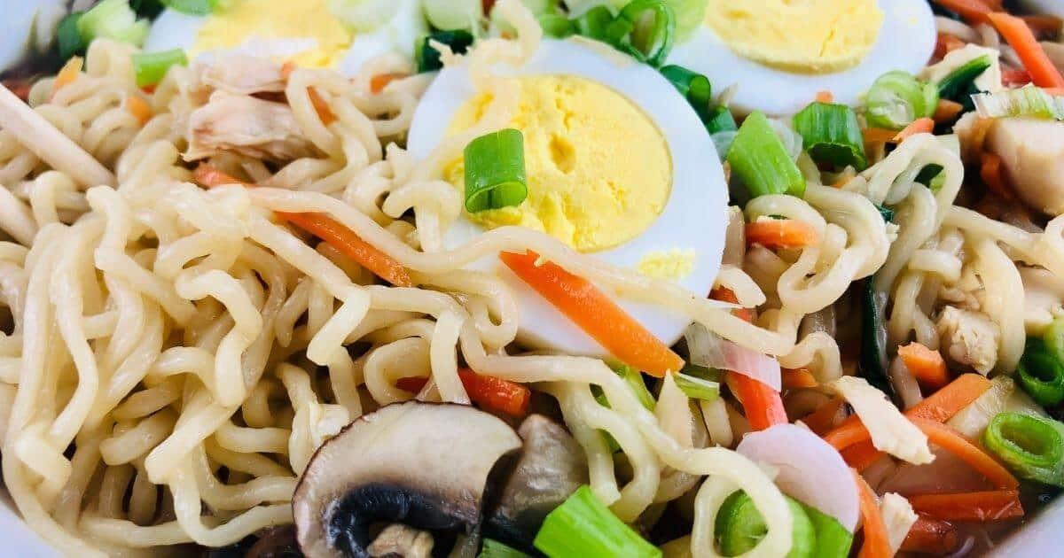 close up view of gluten free ramen noodles