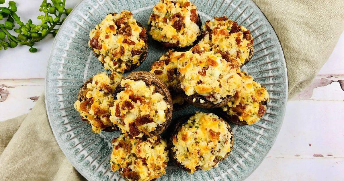 gluten free stuffed mushrooms on a plate