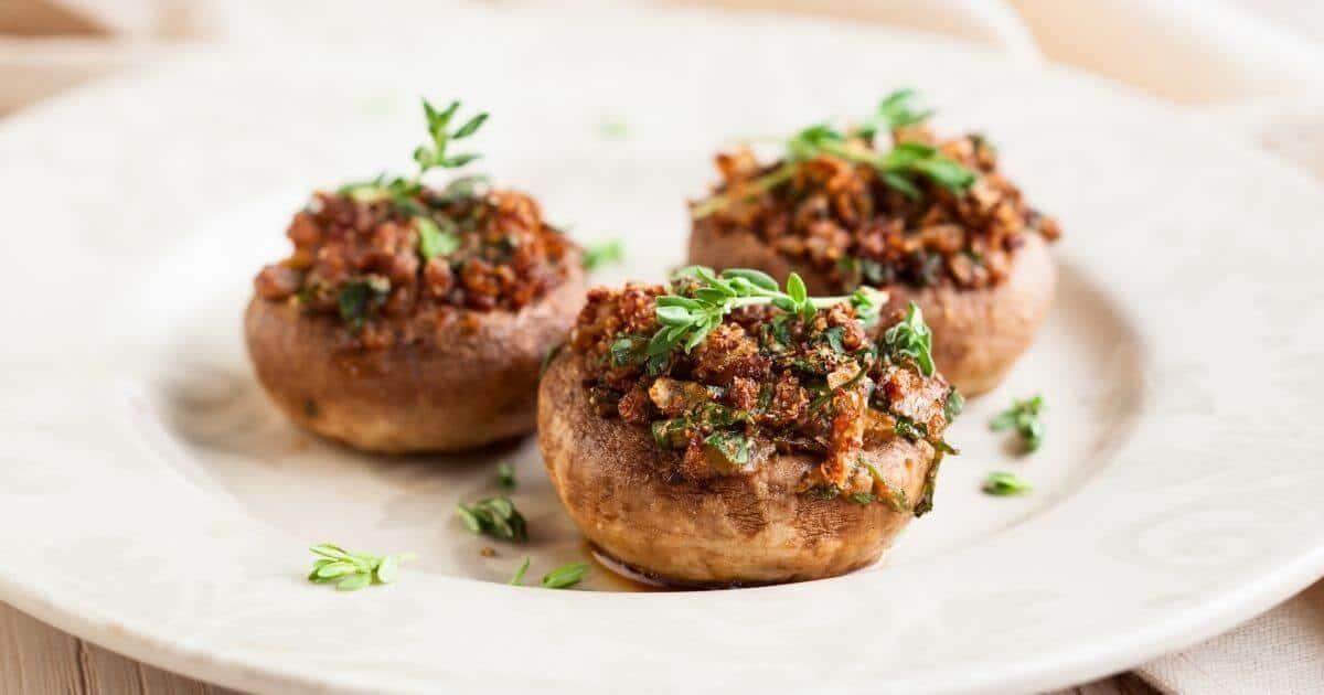 plate with 3 gluten free stuffed mushrooms
